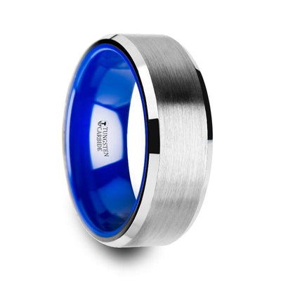 SIRIUS Tungsten Comfort Fit Wedding Band with Brush Center Bright Bevels and Deep Blue inside color - 8mm