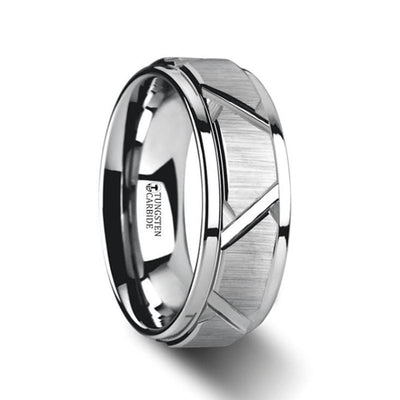 VESTIGE Tungsten Ring with Triangle Angle Grooves and Raised Center - 8mm