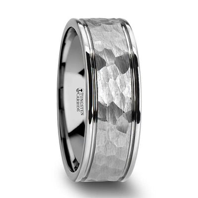 THORNTON Hammered Finish White Tungsten Carbide Wedding Band with Dual Offset Grooves - 6mm & 8 mm