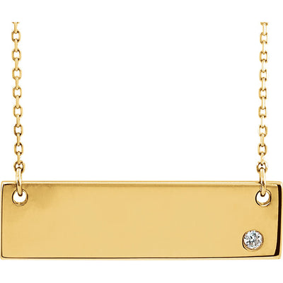 engravable bar necklace yellow gold