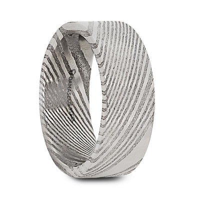 LORD Damascus Steel Flat Brushed Men's Wedding Band with Alternating Carved Pattern - 6mm & 8mm