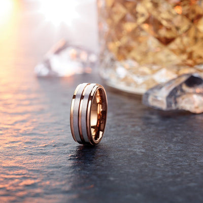 CHIMERA Rose Gold-Plated Tungsten Wedding Band with Dual Tungsten Stripes - 8mm