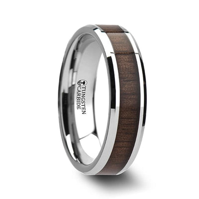 HALIFAX Beveled Tungsten Carbide Ring with Black Walnut Wood Inlay