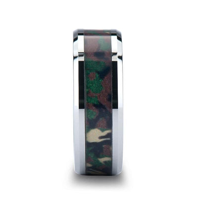 COMMANDO Tungsten Wedding Ring with Military Style Jungle Camouflage Inlay
