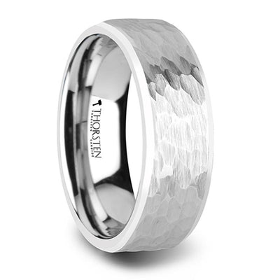 MARTEL White Tungsten Ring with Hammered Finish and Polished Bevels - 8mm