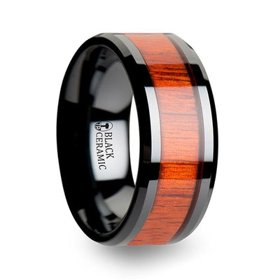 BOSULU Black Ceramic Wood Ring with Polished Bevels and Padauk Wood Inlay