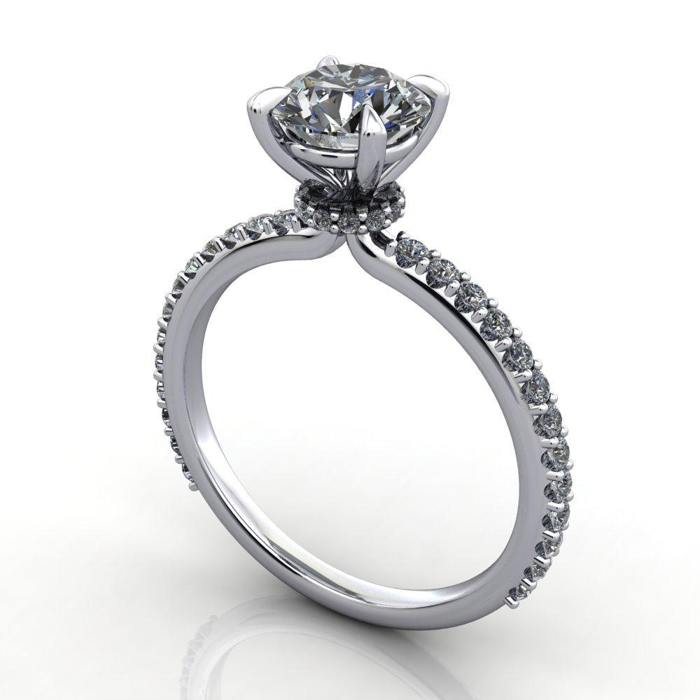 solitaire engagement ring with side stones and diamond collar