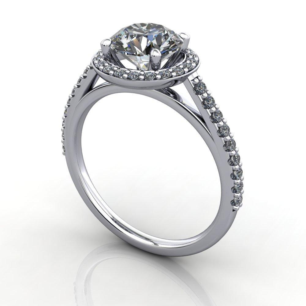 Halo engagement ring with side stones soha diamond co