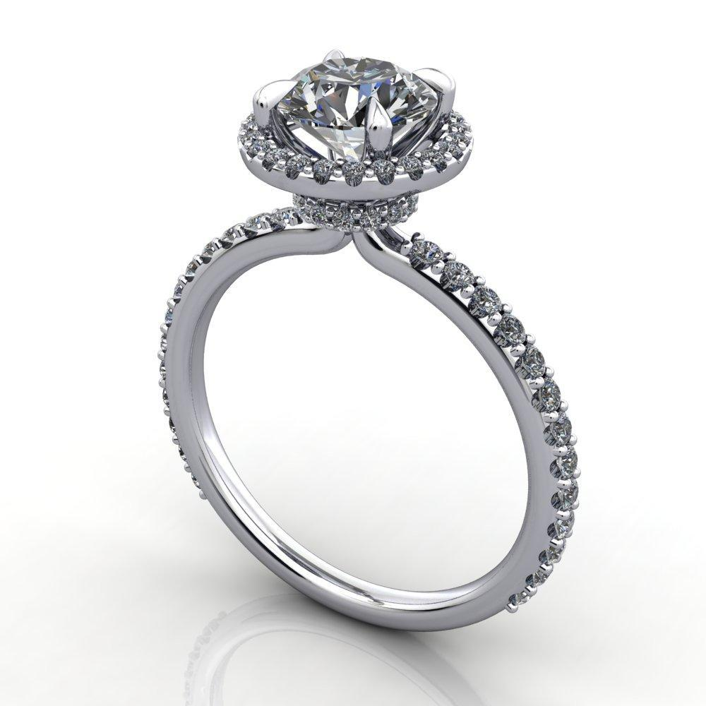 Halo engagement ring with under halo diamond collar soha diamond co.