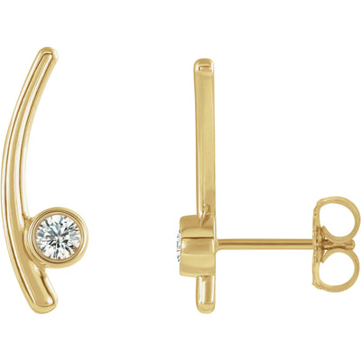 Bezel Set Ear Climber Yellow Gold