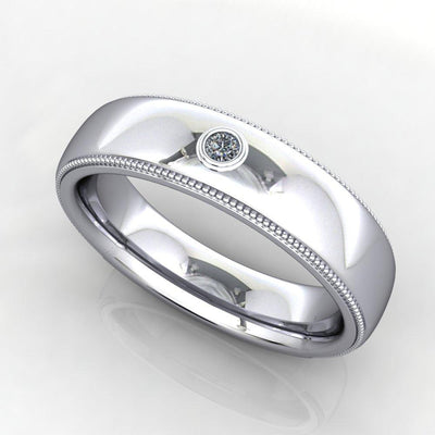bezel set comfort fit diamond mens wedding band Soha diamond co.