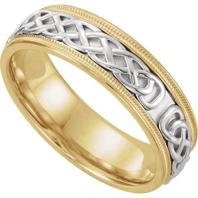 Wedding Bands - Celtic-Inspired Two-Tone Wedding Band (7mm)
