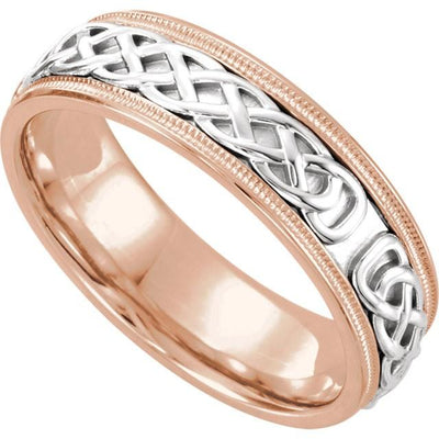 Wedding Bands - Celtic-Inspired Two-Tone Wedding Band (7mm) rose gold