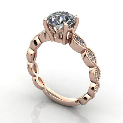 vintage inspired ring with milgrain and scalloped details