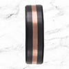 Black diamond beveled band with rose gold inlay elysium