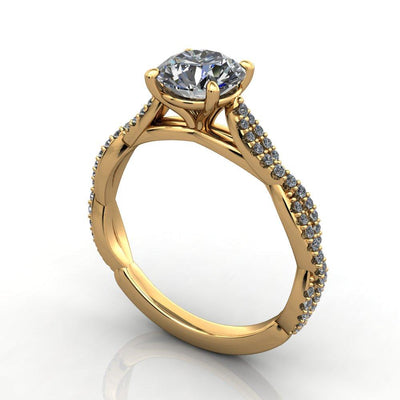 Infinity inspired solitaire engagement ring soha diamond co. yellow gold