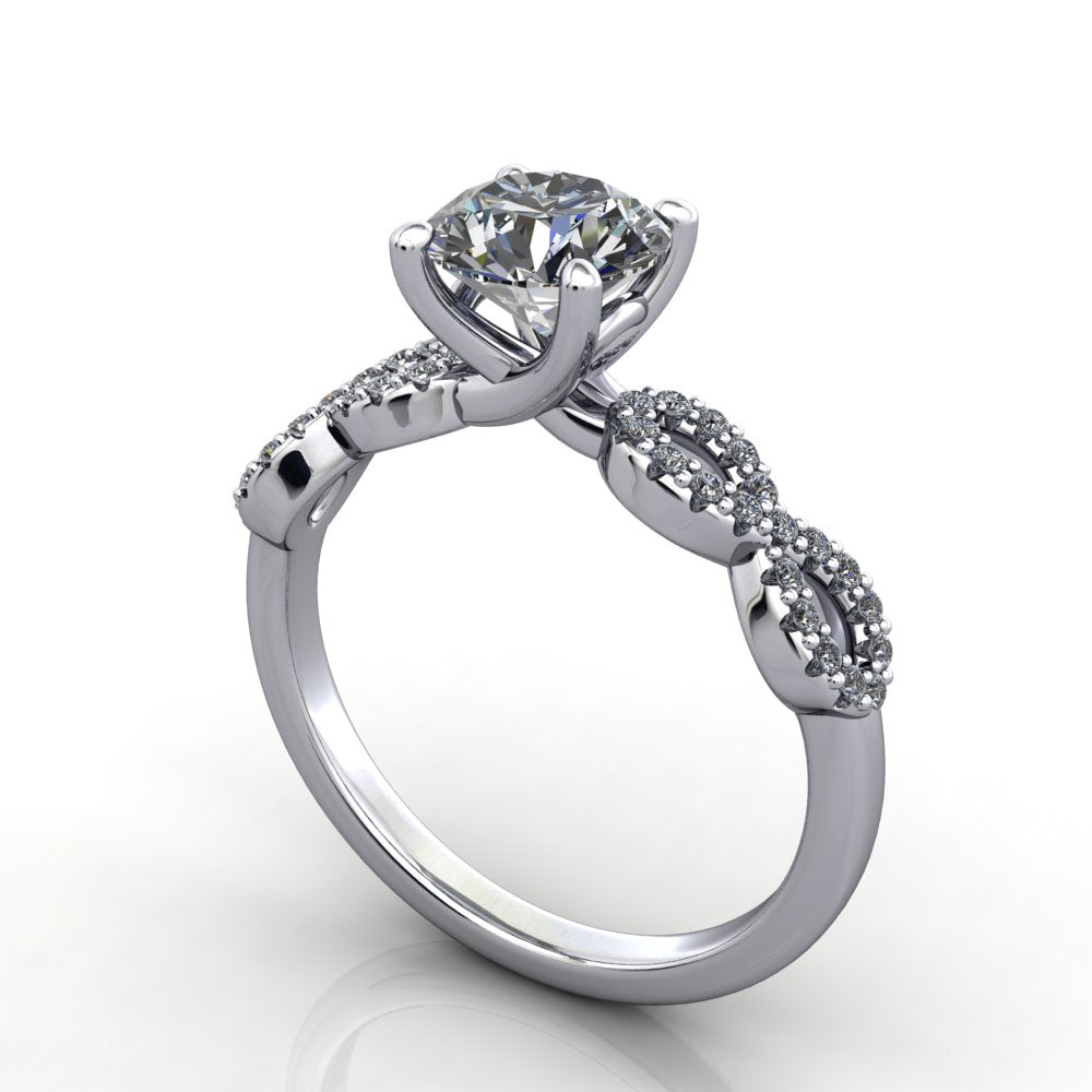 infinity inspired engagement ring platinum