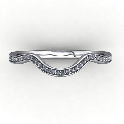 contoured diamond wedding band gold white