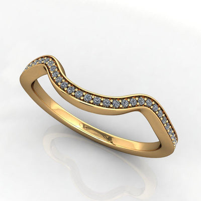 contoured lab-grown diamond wedding band yellow gold