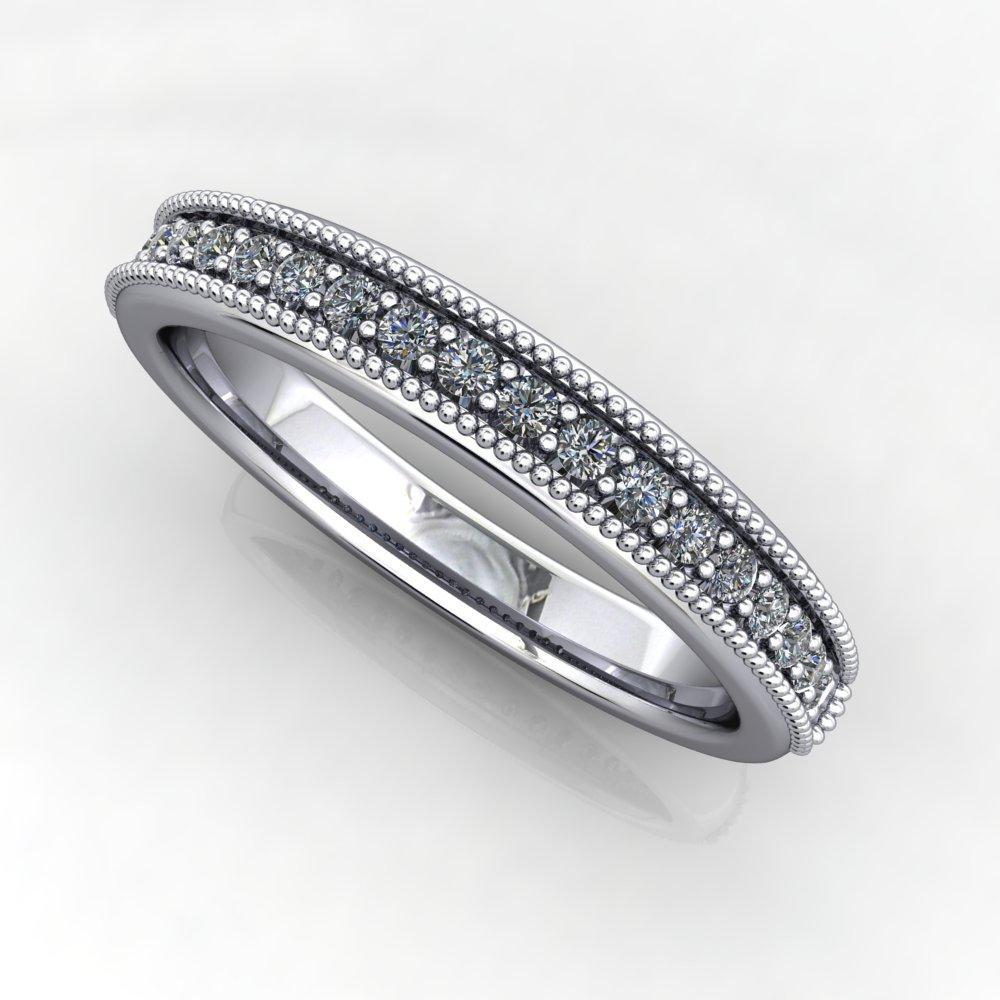 Wedding Bands - Milgrain Wedding Band With Diamonds