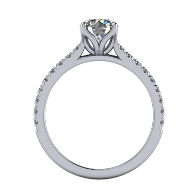 Petal prongs and petal basket engagement ring white gold