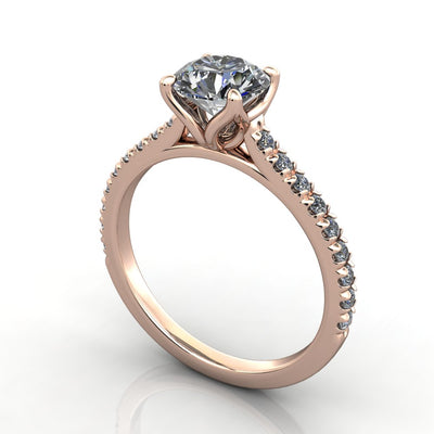 Petal prongs and petal basket engagement ring rose gold