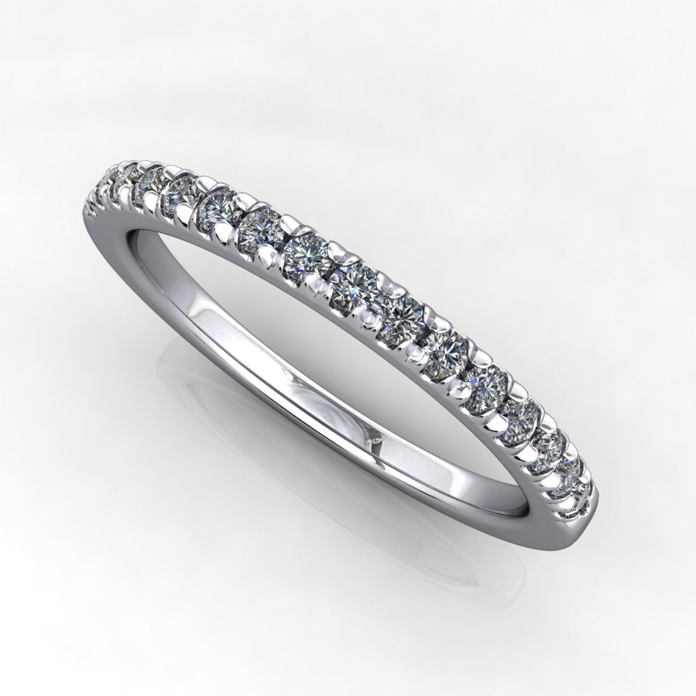 French Set lab-grown diamond wedding band white gold
