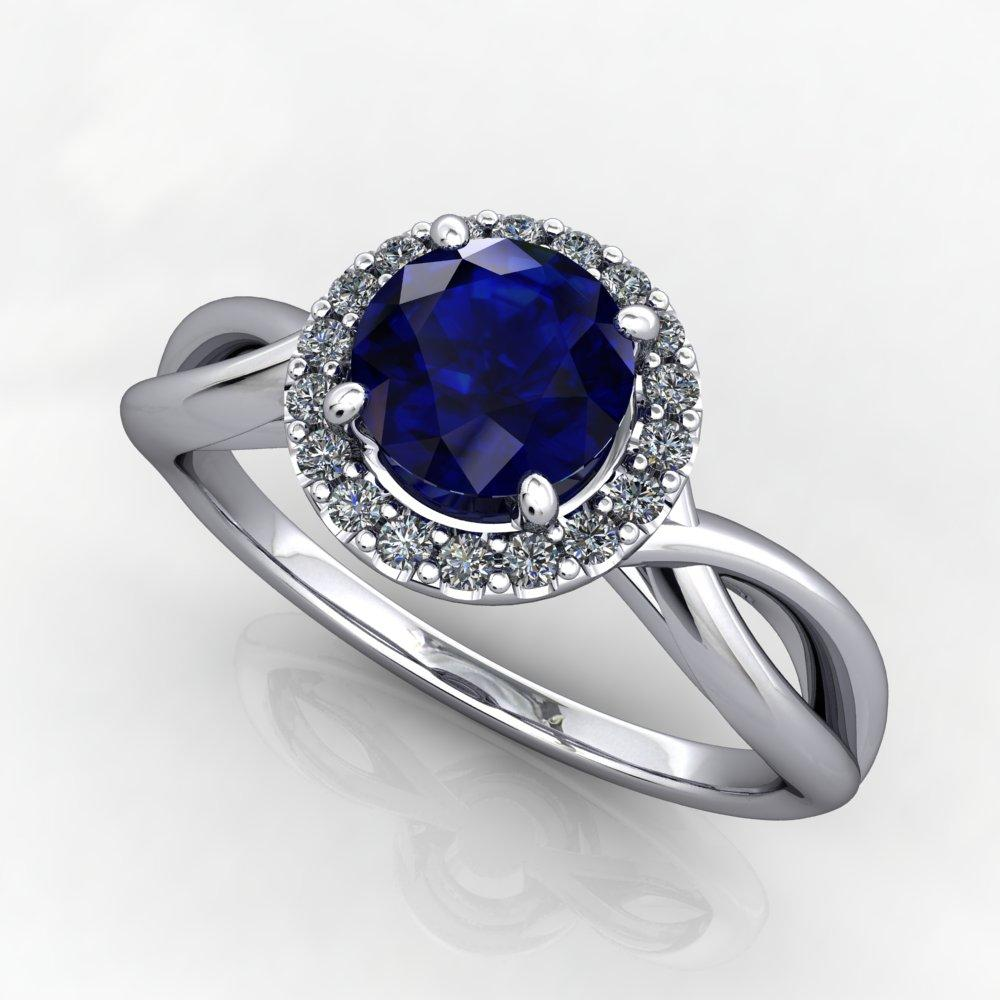 Split-shank gemstone halo engagement ring promise ring