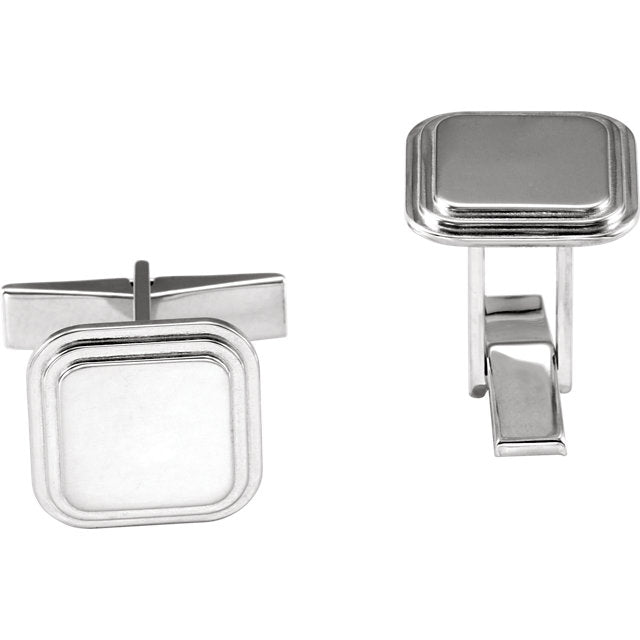 Square engravable cuff links