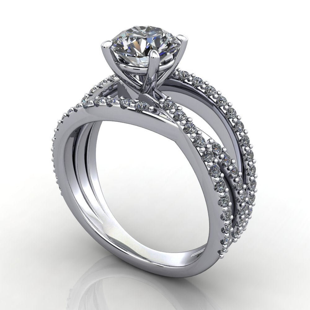 Multi band three row band engagement ring