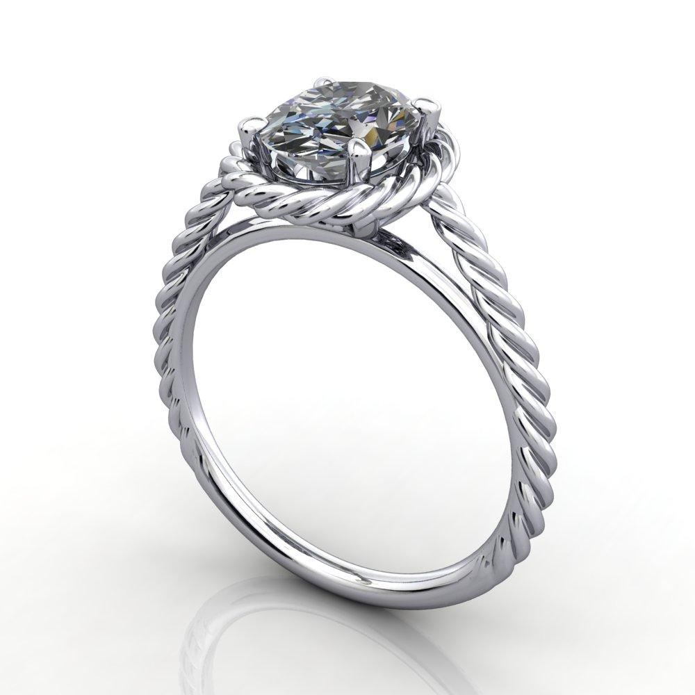 Twisted band rope band halo engagement ring white gold