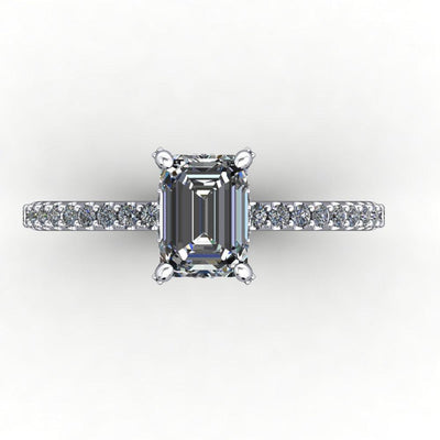 engagement ring with diamond basket diamond prongs soha diamond co emerald cut