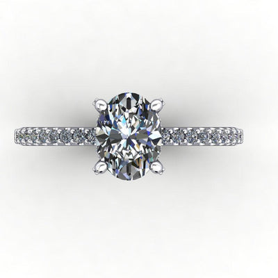 engagement ring with diamond basket diamond prongs soha diamond co oval cut