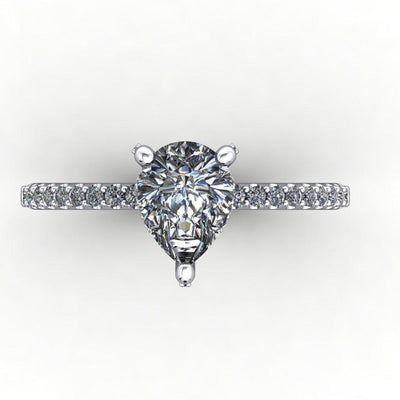 engagement ring with diamond basket diamond prongs soha diamond co pear cut