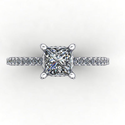 engagement ring with diamond basket diamond prongs soha diamond co princess cut