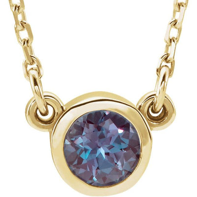 Alexandrite bezel-set necklace