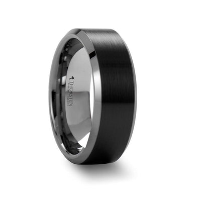 ARDEN Beveled Tungsten Carbide Ring wth Brush Black Ceramic Center 6mm & 8mm