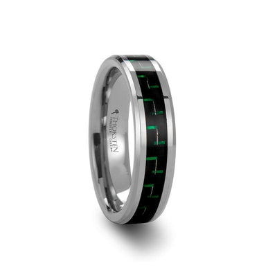 ATRONIUS Tungsten Carbide Ring with Black & Green Carbon Fiber Inlay
