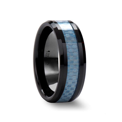 ATTICUS Blue Carbon Fiber Inlaid Black Ceramic Ring with Bevels - 8mm