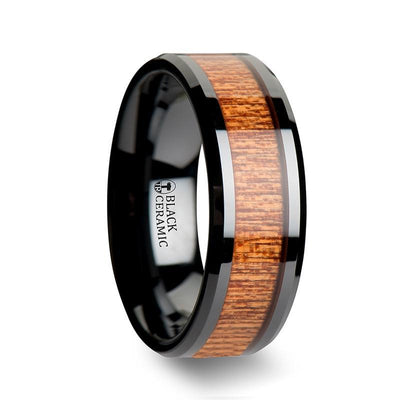 BENIN Black Ceramic Wedding Band with Polished Bevels and African Sapele Wood Inlay - 6mm & 8mm