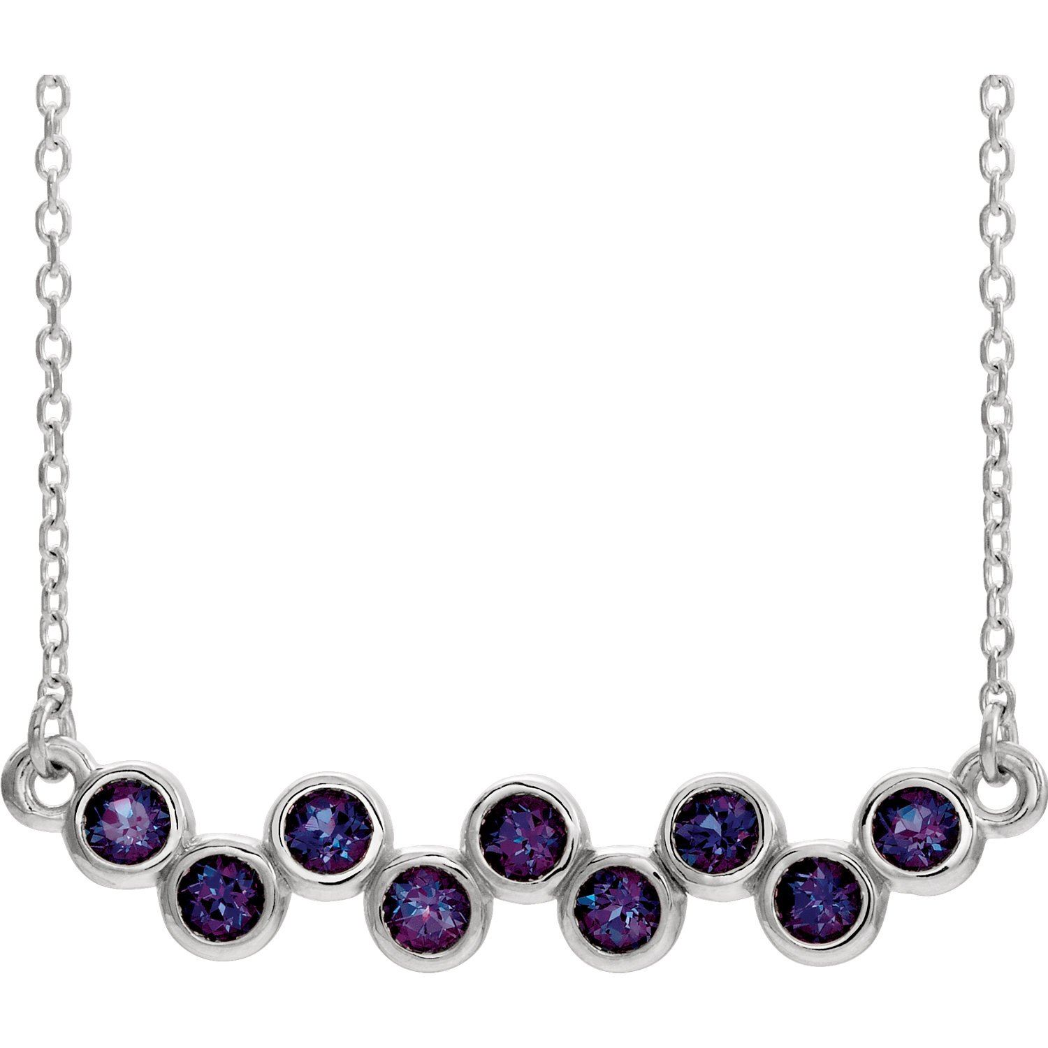 bezel set chatham created gemstone necklace