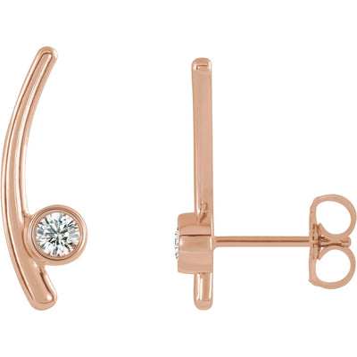 Rose Gold Bezel Set Ear Climber
