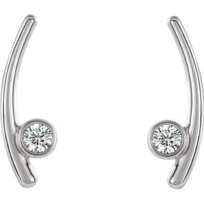 Bezel Set Ear Climber White Gold