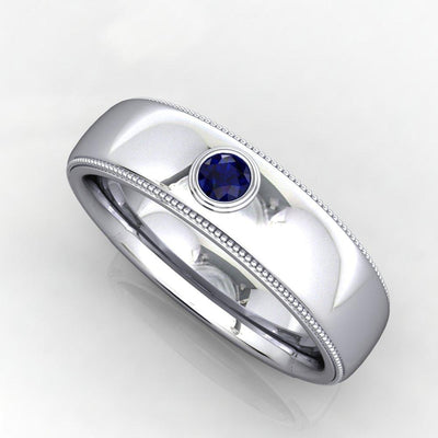 Bezel set gemstone men's wedding band with milgrain