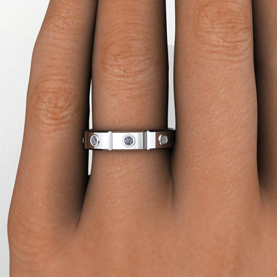 Bezel-set Panel men's eternity band soha diamond co.