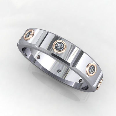 Bezel-set Panel men's eternity band soha diamond co. two tone