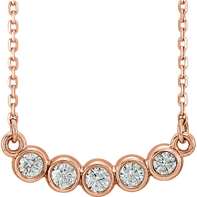 Five Stone Bezel Set Necklace rose gold