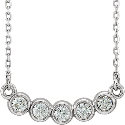 Five Stone bezel set necklace white gold