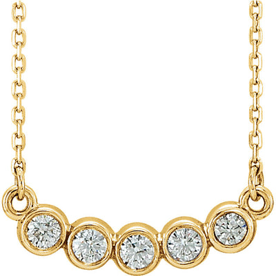 five stone bezel set necklace yellow gold