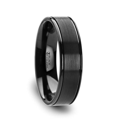BLACKHEART Flat Brushed Finish Black Ceramic Band with Dual Offset Grooves and Polished Edges